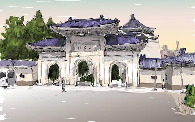Bosquejo del paisaje urbano en taiwán taipei muestra la puerta del antiguo templo, ilustración
