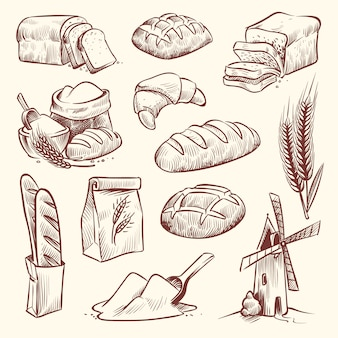 Bosquejo de pan molino harinero baguette francés hornear pan comida trigo tradicional panadería cesta grano pastelería tostada rebanada conjunto