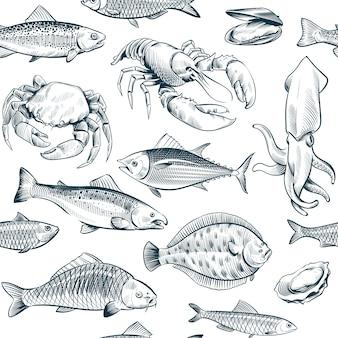 Bosquejo de patrones sin fisuras de mariscos. ostra salmón langosta mariscos.