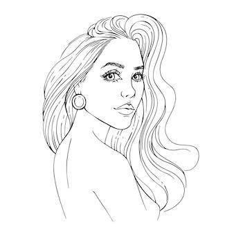 Bosquejo rostro de mujer joven con pelo largo. chica girando la cabeza. dibujado a mano ilustración de contorno