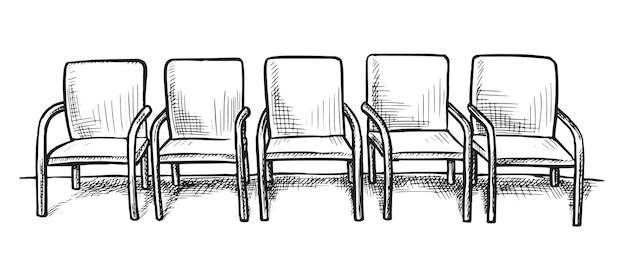 Bosquejo de la sala de espera. fila de asientos de silla vacía dibujada a mano sobre fondo blanco.