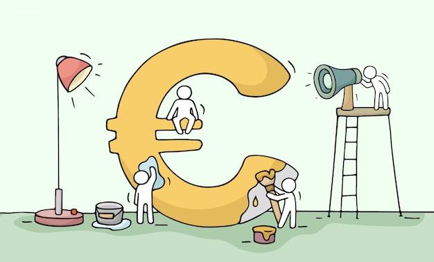 Bosquejo del símbolo del euro con pequeñas personas que trabajan.