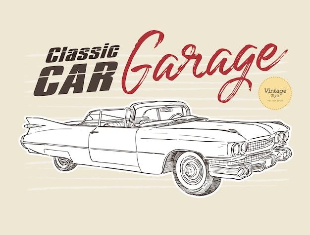 Bosquejo de sorteo de mano de estilo vintage de coche clásico