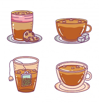 Bosquejo de tiempo de café y té plano