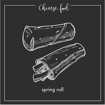 Bosquejo de tiza de comida china rollito de primavera para restaurante de cocina asiática de china