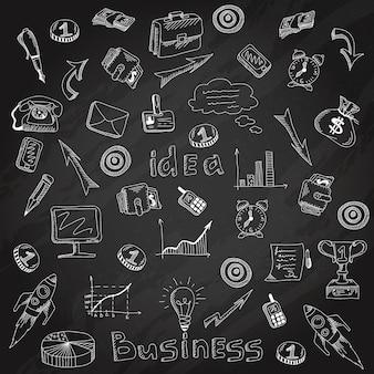 Bosquejo de la tiza de la pizarra de los iconos de la estrategia empresarial