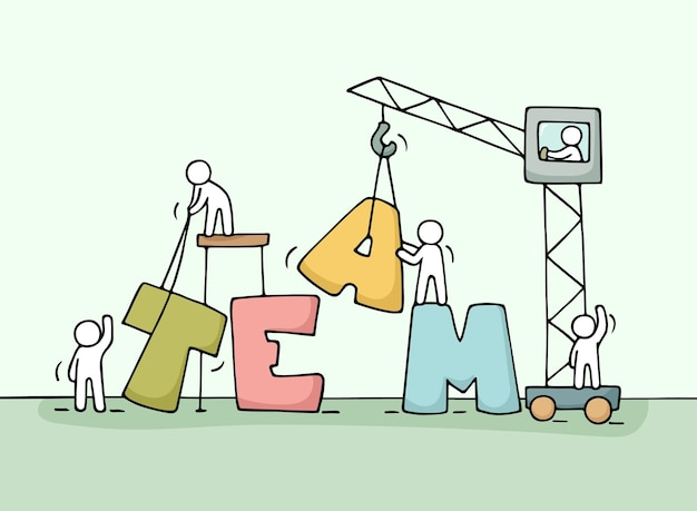 Bosquejo del trabajo en equipo con gente trabajadora. dibujos animados dibujados a mano