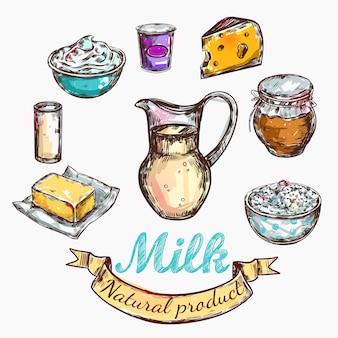 Bosquejo de vaca y naturaleza leche color