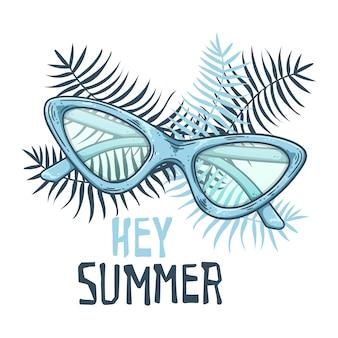Bosquejo del vector gafas de sol en estilo vintage. letras: oye verano.