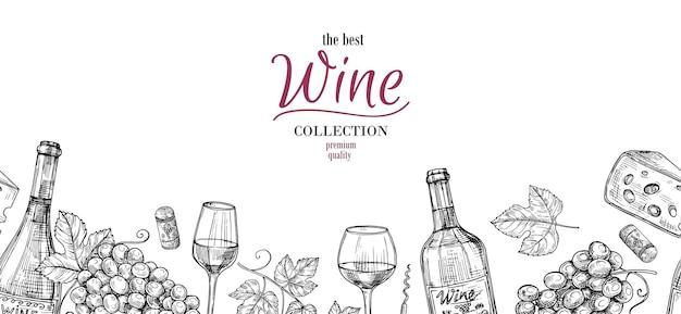 Bosquejo del vino. dibujo de bebidas, uvas, botellas de borde sin costuras. bandera alcohólica con vasos y queso, fondo de vector de bodega. ilustración de boceto, botella y cosecha de bebida de vino