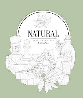 Bosquejo vintage de cosméticos naturales