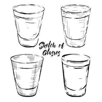 Bosquejos dibujado a mano de vasos