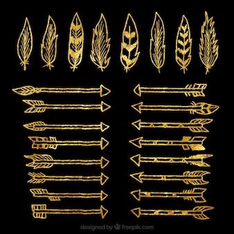 Bosquejos de la pluma de oro y la recogida de la flecha