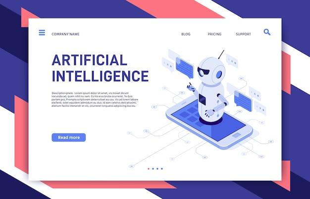 Bot asistente de chat de inteligencia artificial en aplicación de teléfono inteligente y robot educativo.