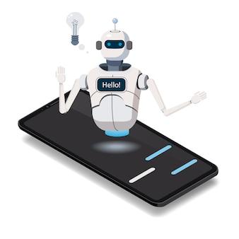 Bot de chat de ciencia isométrica, concepto de teléfono inteligente. inteligencia artificial