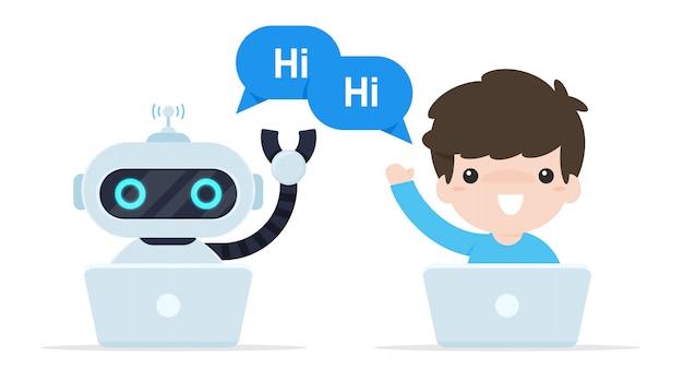 Bot chat decir hola. robots programados para hablar con clientes en línea.