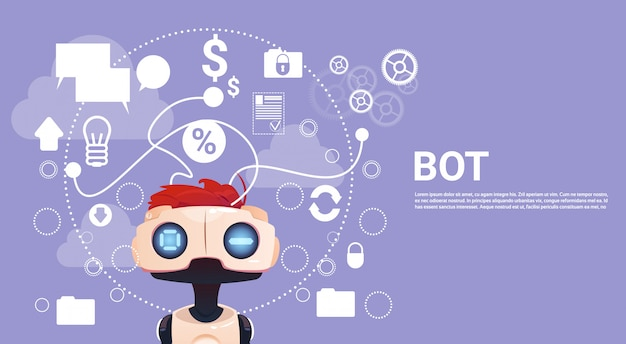 Bot de chat gratuito, elemento de asistencia virtual de robot de sitio web o aplicaciones móviles, inteligencia artificial