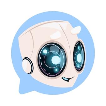Bot de chat lindo en concepto de icono de burbuja de discurso de chatbot o chatterbot technology