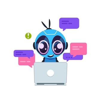 Bot de chat. robot de dibujos animados lindo con inteligencia artificial, asistente personal y concepto de servicio de soporte virtual. centro de ayuda al cliente
