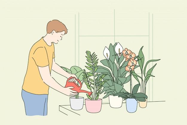 Botánica, hobby, estilo de vida, naturaleza, cuidado, concepto de trabajo.