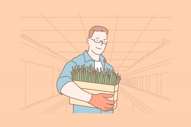 Botánico con caja de hierba, invernadero, concepto de agricultura