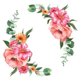 Botánico flor acuarela ramo elegancia floreciendo