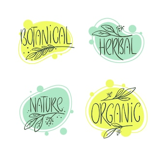 Botánico, orgánico, herbal, naturaleza, conjunto de logotipos, lebel y emblemas dibujados a mano.