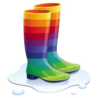 Botas de goma de vector en colores del arco iris - concepto de moda brillante
