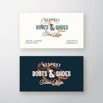 Botas a medida signo, símbolo o logotipo retro y tarjeta de visita