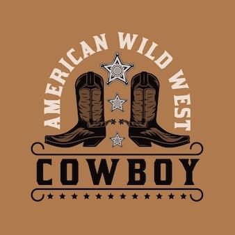 Botas vaqueras americanas del salvaje oeste