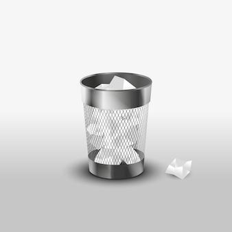 Bote de basura de acero con el icono de vector realista de papel basura