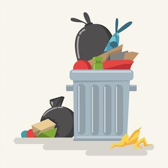 Bote de basura con basura y bolsas de plástico de dibujos animados.
