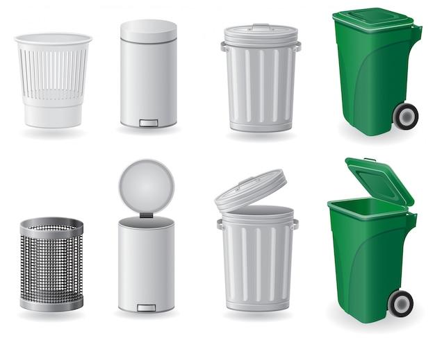 Bote de basura y cubo de basura conjunto ilustración vectorial