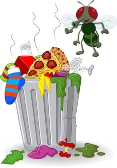 Bote de basura de dibujos animados y volar