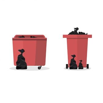 Bote de basura. diseño plano.