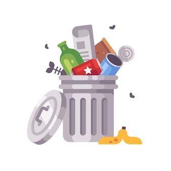 Bote de basura lleno de basura. cubo de basura con latas, botellas, periódico y cáscara de plátano