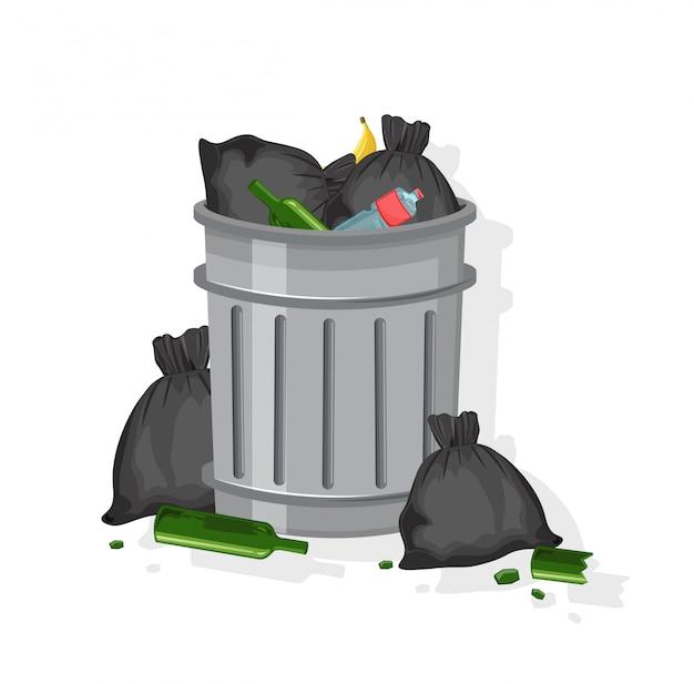 Bote de basura lleno de bolsas de basura, vasos de vino, botellas de plástico y cáscaras de plátano