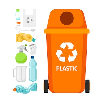 Bote de basura naranja con plastico