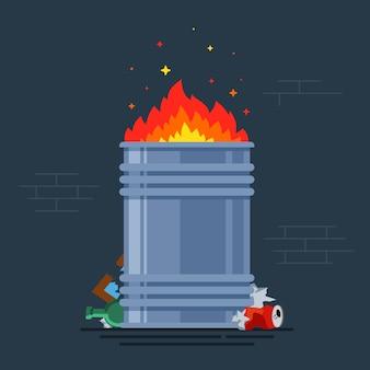 Bote de basura quemaduras. hoguera para gente pobre. quemando un montón de monzones. ilustración vectorial plana