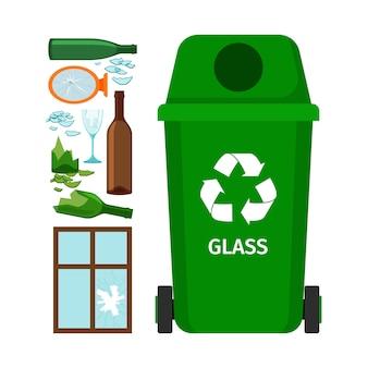 Bote de basura verde con vidrio