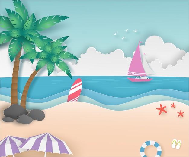 Bote rosa en el mar y cocoteros en la playa en verano con papel cortado