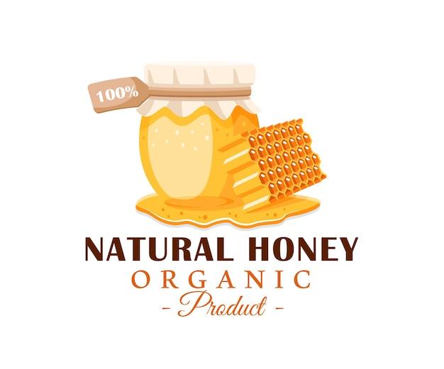 Bote de vidrio con miel, panal con gotas de miel aislado. etiqueta de miel, concepto de emblema.