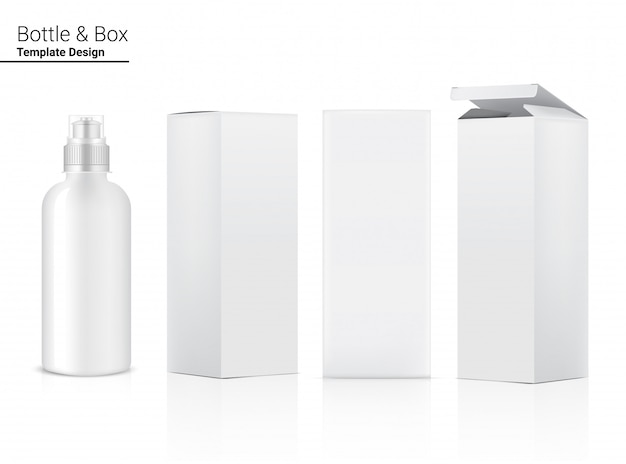 Botella 3d, agitador de plástico transparente realista con caja en vector para agua y bebida. diseño de concepto de bicicleta y deporte.
