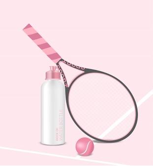Botella 3d realista agitador de agua rosa pastel con raqueta y pelota de tenis