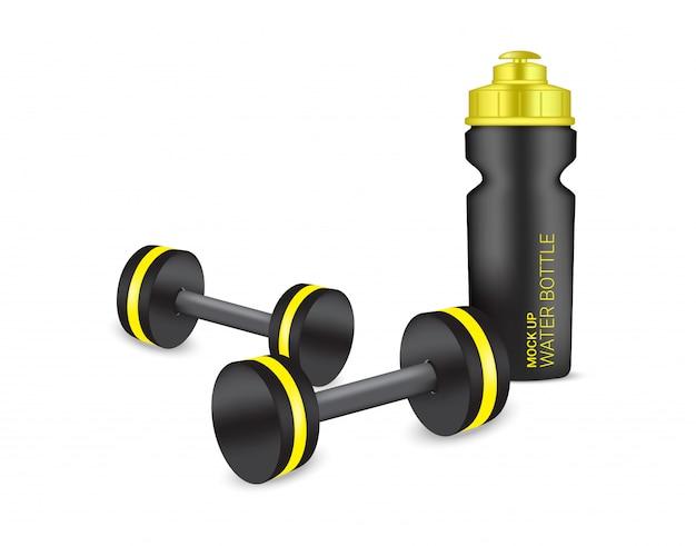Botella 3d realista agitador de plástico y pesas en vector con agua y bebida. diseño de ilustración de concepto saludable y deportivo.