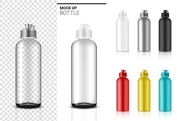 Botella 3d realista transparente cuentagotas agitador plástico