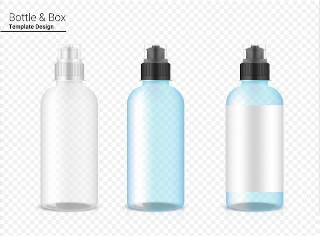 Botella 3d, vector de agitador de plástico transparente realista para agua y bebida. diseño de concepto de bicicleta y deporte.
