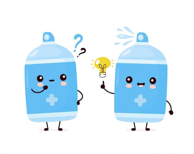 Botella de aerosol antiséptico sonriente feliz lindo con signo de interrogación y bombilla de idea. diseño de icono de ilustración de personaje de dibujos animados. aislado en el fondo blanco