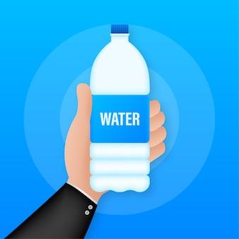 Botella de agua azul. diseño del paquete.