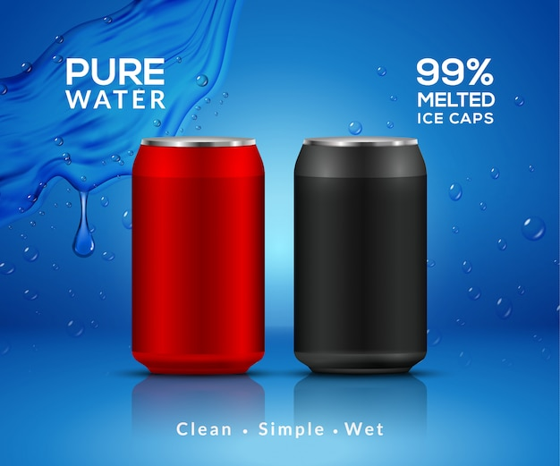 Botella de agua de fondo mineral. botella de agua metálica que hace publicidad del enfriador de bebidas, producto de agua transparente